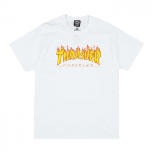THRASHER FLAME LOGO WHITE