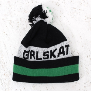 GIRL TYPE POM BEANIE BLACK/GREEN